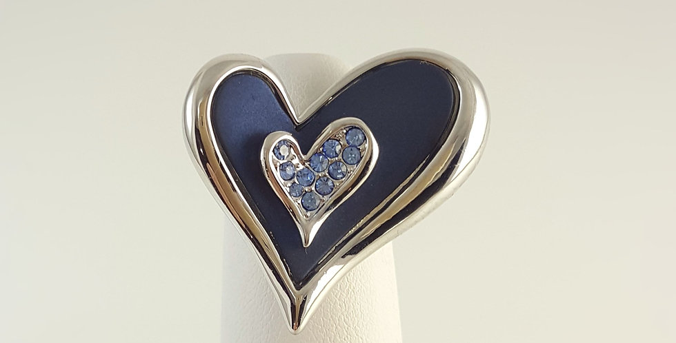 Blue Heart Enameled Ring