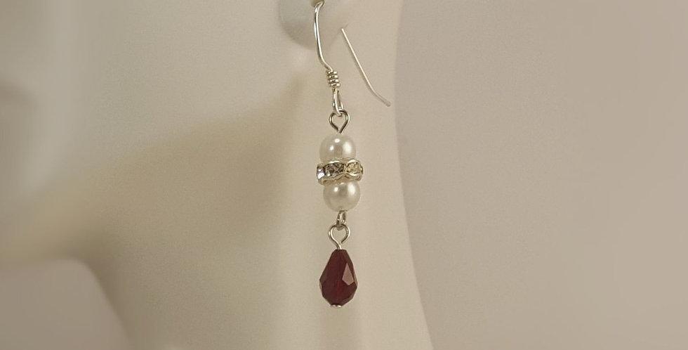 Swarovski Crystal and White Glass Round Earrings - Siam - Teardrop