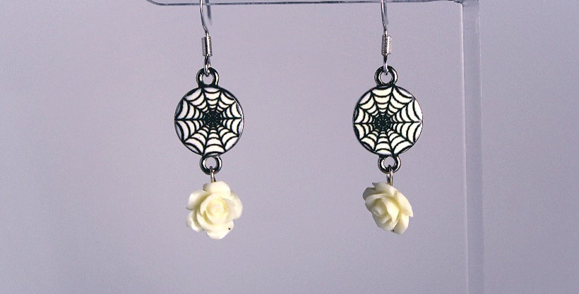 Spider Web Charm with White Rose Earrings