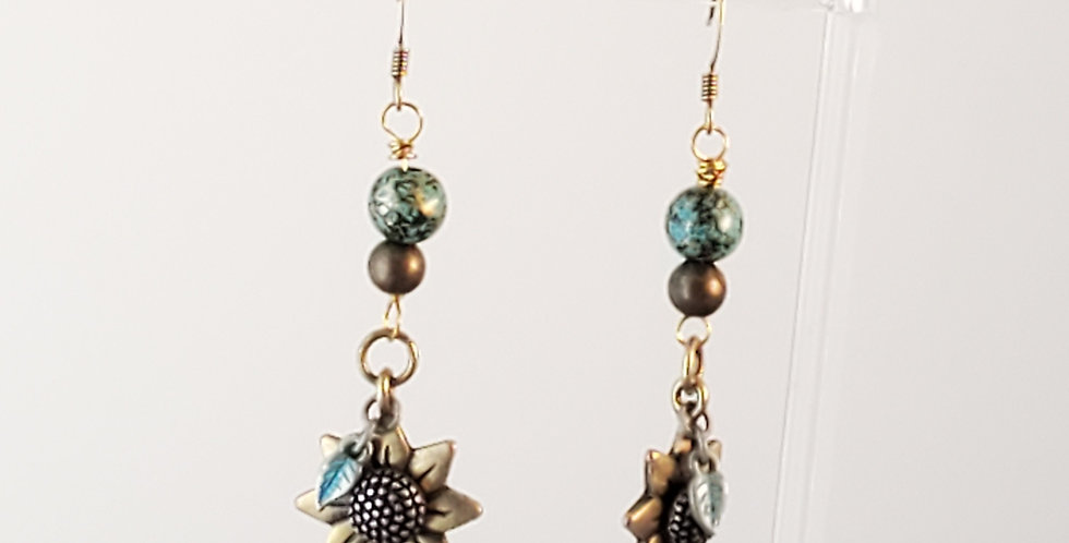 Antiqued Brass Sunflower Dangle Earrings