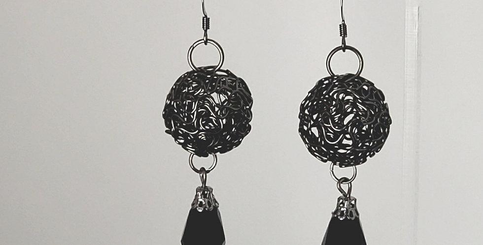Gunmetal Wire Ball with Black Teardrop Earrings
