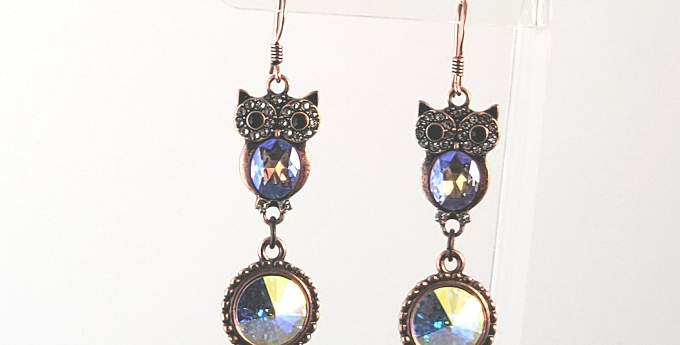 Antiqued Copper Owl with Swarovski Crystal Earrings - Clear