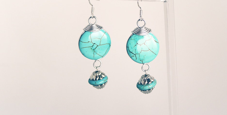 Malachite Puffed Coin with Silver Drop Earrings