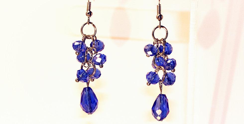 Rondelle Cluster with Teardrop Earrings - Blue