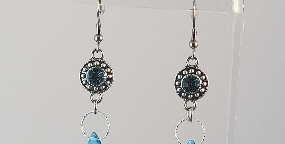 Antiqued Silver Coin with Teal Briolette Earrings