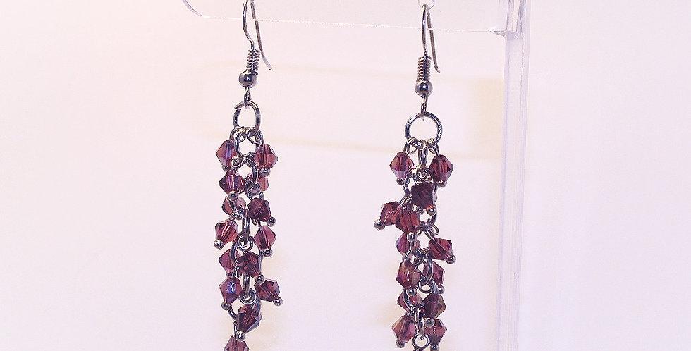 Bicone Cluster Earrings - Purple