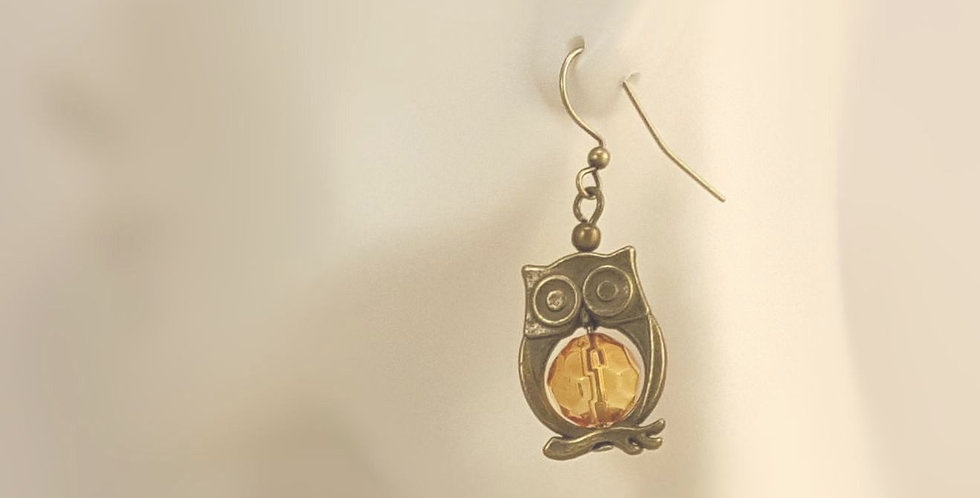 Antiqued Brass Owl with Harvest Moon Earrings