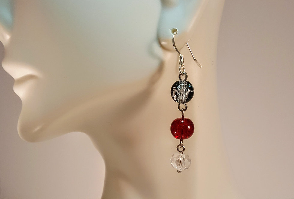 Black, Clear and Red Crackle Earrings