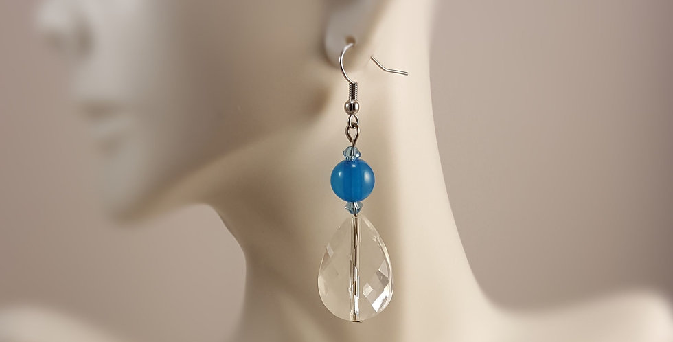 Blue Glass with Crystal Earrings