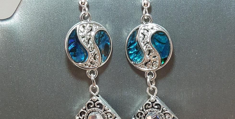 Paua Shell Earrings - Yin Yang - Square