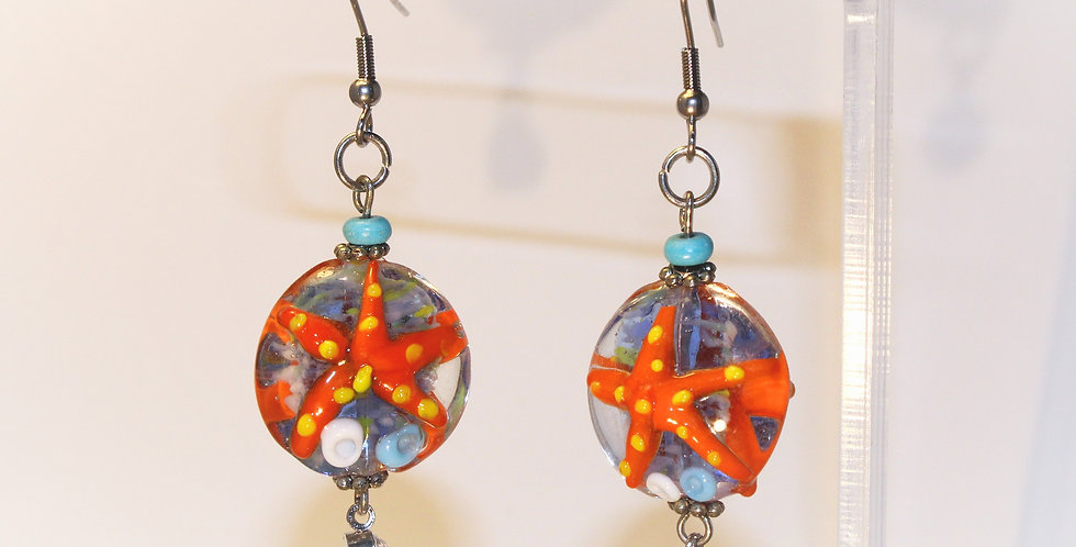 Starfish Lampwork Fishhook Earrings