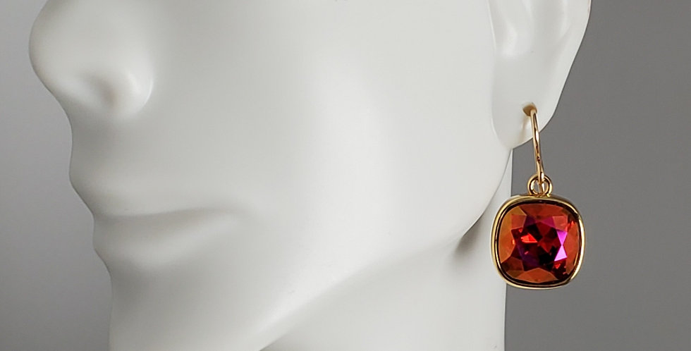 Cushion Shaped Swarovski Crystal Earrings - Gold Siam