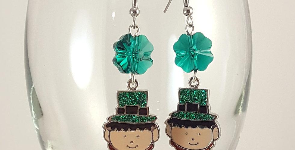 Leprechauns with Swarovski Shamrock Earrings - Silver