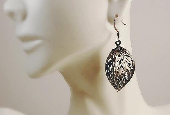 Gunmetal Leaf with Crystals Earrings