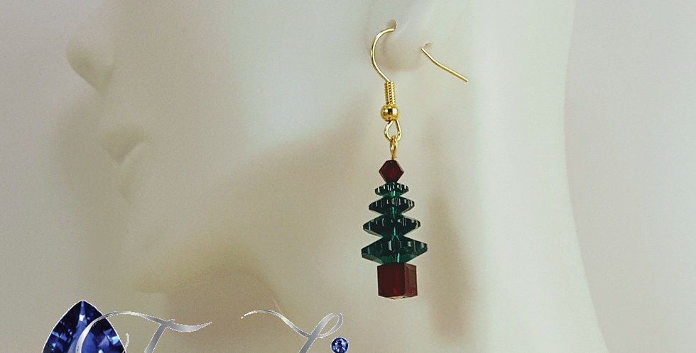 Swarovski Christmas Tree Earrings - Gold Red