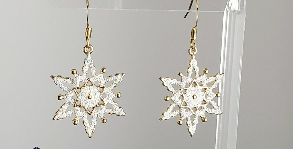 Gold Glitter Snowflake Earrings