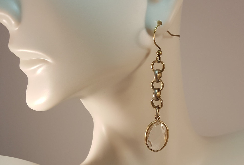 Antiqued Brass Clear Crystal on Chain