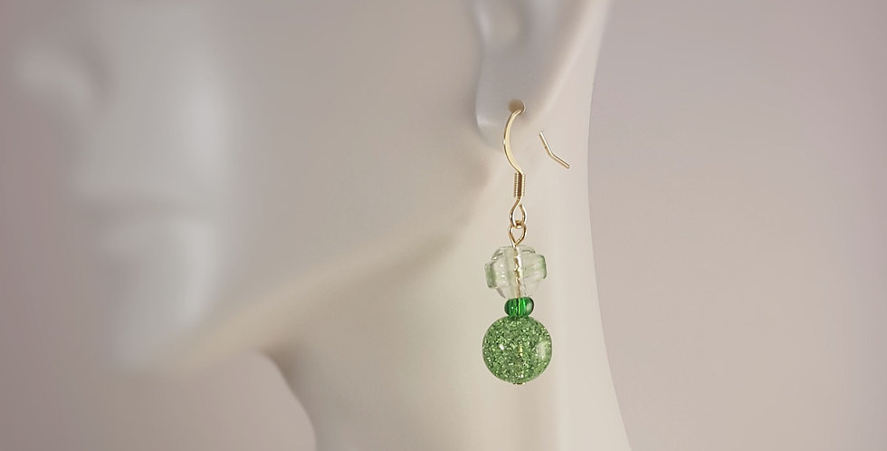 Spring Lampwork Glass Earrings - Green Crackle