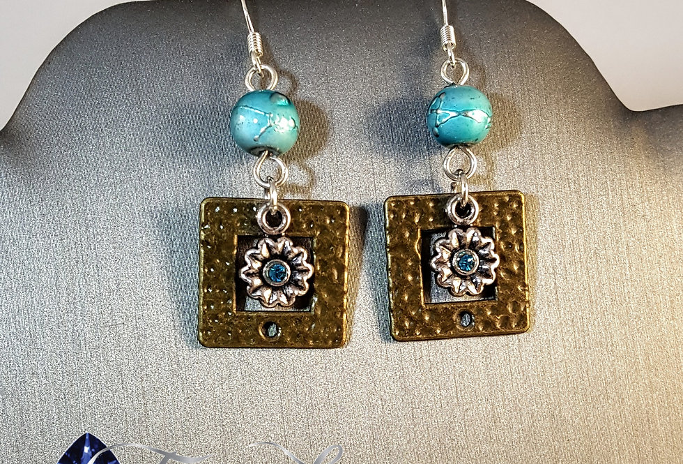 Antiqued Hammered Brass Square with Flower Earrings