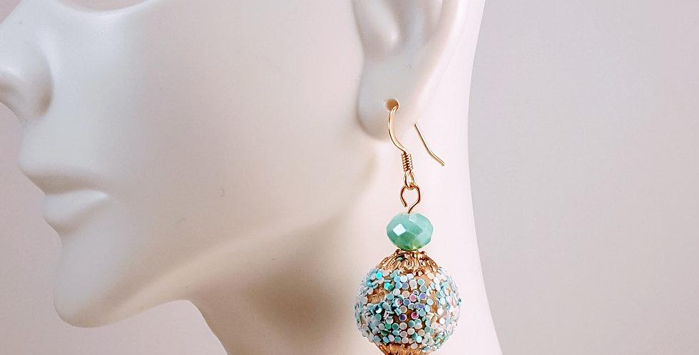 Pastel Glitter Gumball Earrings- Blue