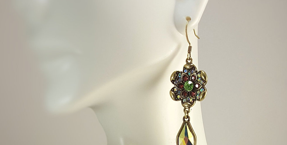 Pink, Green Crystal Flower with Swarovski Flame Earrings