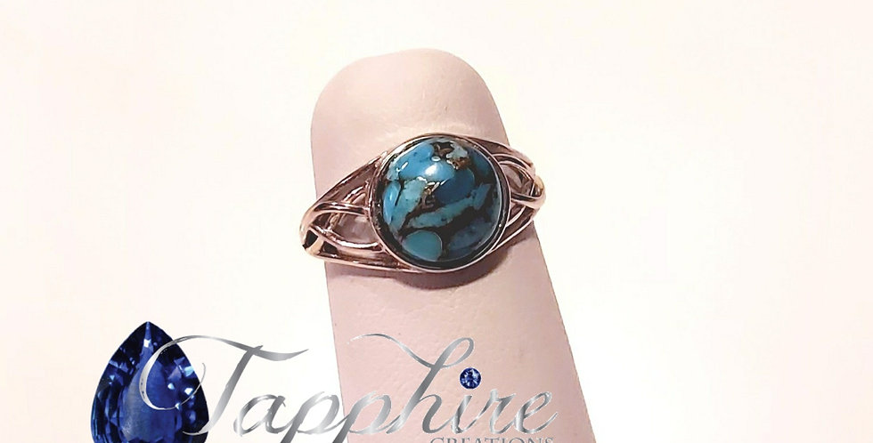 Turquoise set Sterling Silver Adjustable Ring