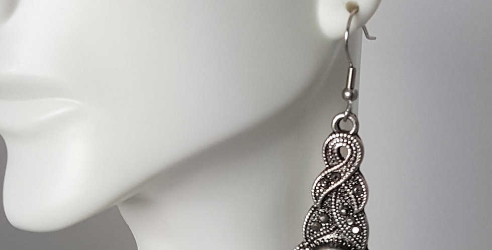 Antiqued Silver Rope Earrings - White