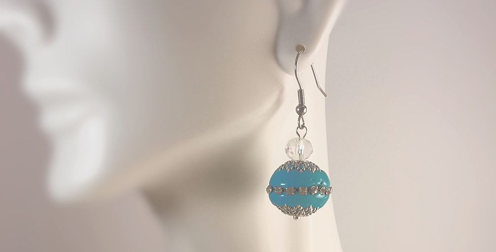 Teal Sphere with Silver and Crystal Earrings