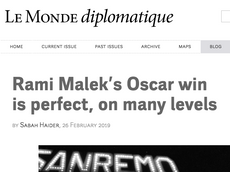 """Le Monde Diplomatique: """"Rami Malek's Oscar Win is Perfect on Many Levels Beyond His Identit"""