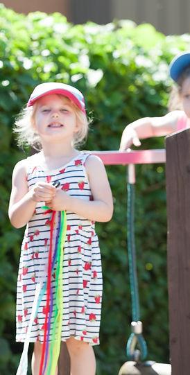 Exploring the nursery outdoor adventure area