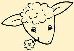dessin agneau, brebis, mouton, fleur, dessin noir et blanc