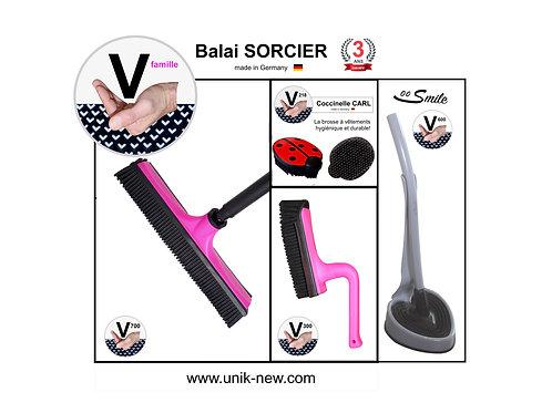 Balai SORCIER Kit complet rose / SMILE gris.