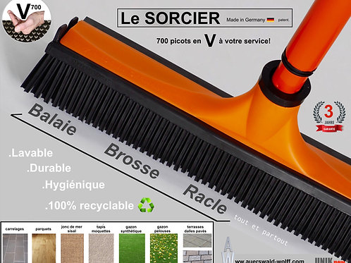 Balai SORCIER V700 orange fourni sans manche.