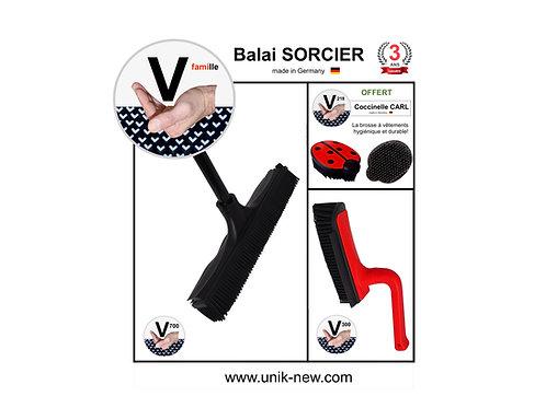 "Balai SORCIER Kit V famille ""en rouge et noir""."