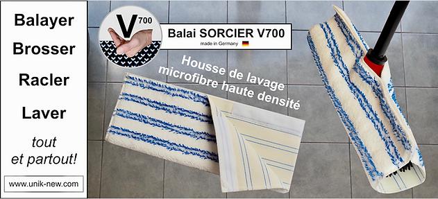 Housse de lavage microfibre Balai SORCIER picot V700 UNIK NEW SASU