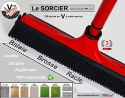 Balai SORCIER rouge V7, picots V