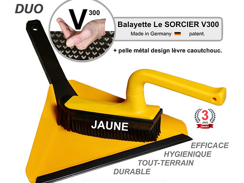 DUO Balayette V300 + pelle design Balai SORCIER picot V.Jaune