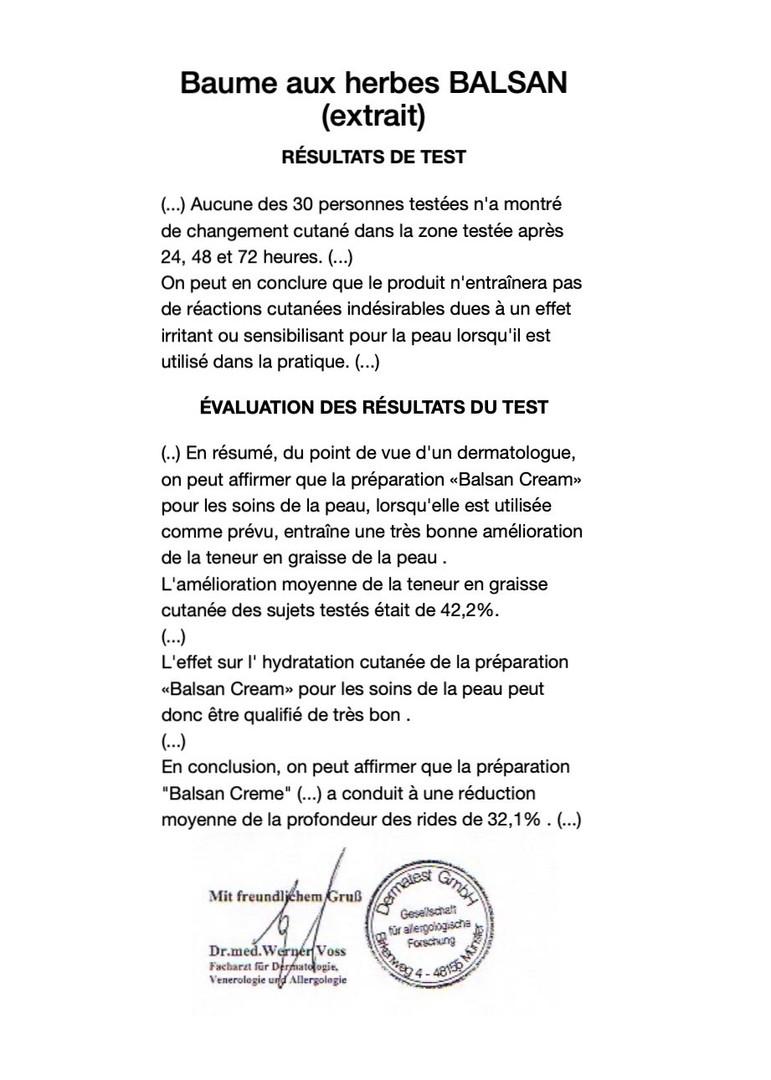 Extrait du rapport Dermatest® pour BALSAN Baume aux herbes