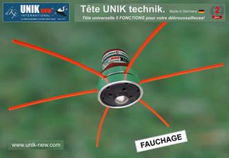 Tête universelle UNIK technik pour débroussailleuse. Fauchage UNIK new