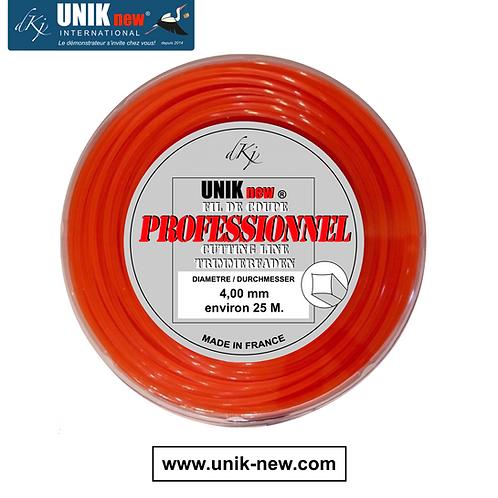 Rouleau cable carré 4,00 mm Qualité Pro Tête UNIK