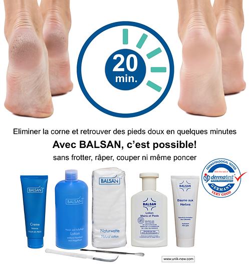 Soin BALSAN pieds et mains. Acheter BALSAN lotion au meilleur prix. Pour des pieds doux et en pleine forme! UNIK NEW sasu