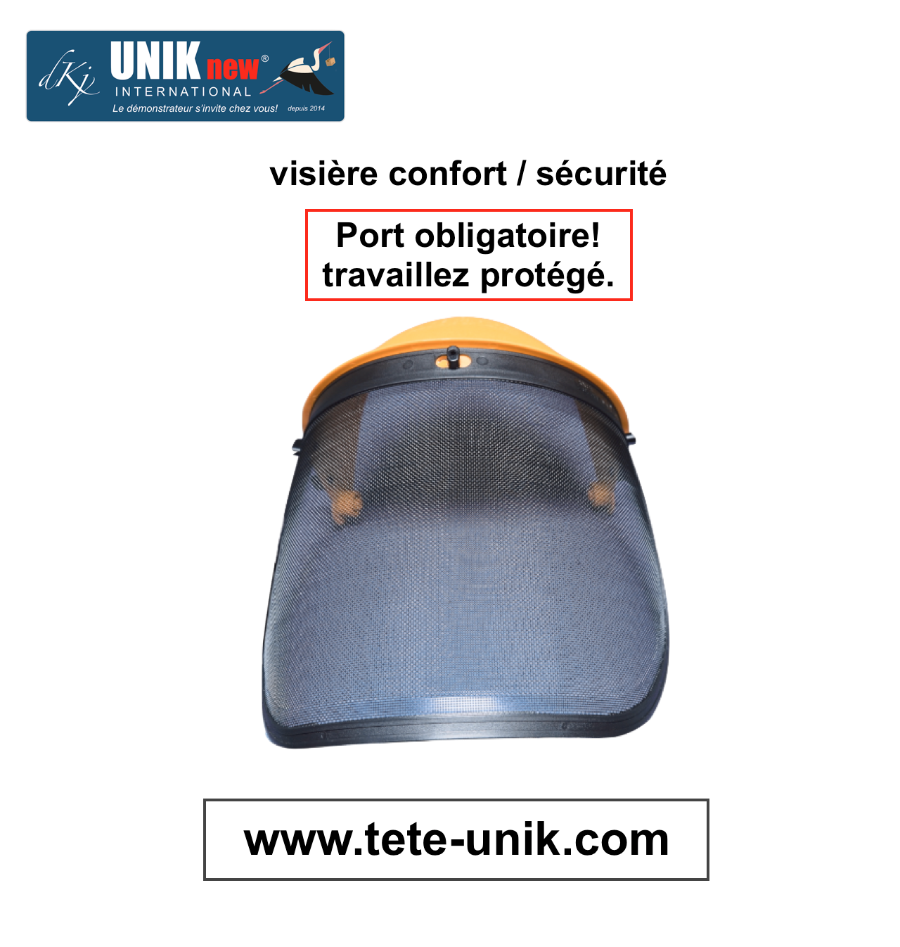 Visière confort/sécurité UNIK new