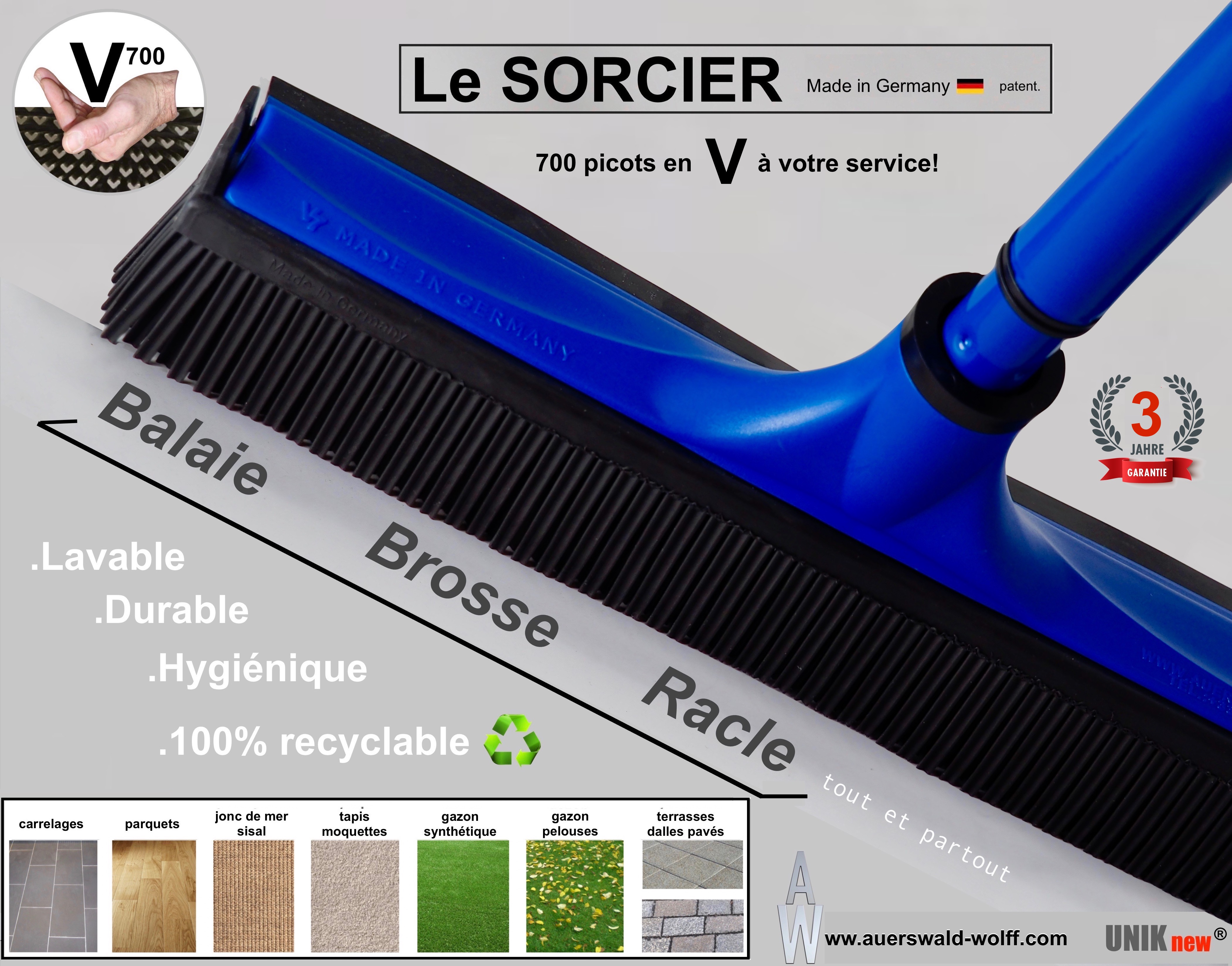 Balai SORCIER bleu V700 caoutchouc