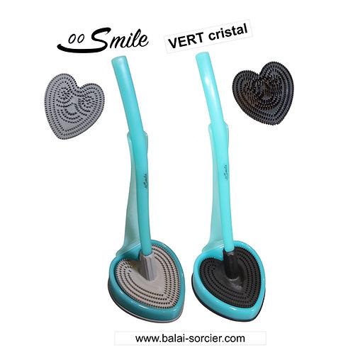 SMILE V600 picots vert cristal. Brosse toilettes Balai SORCIER.