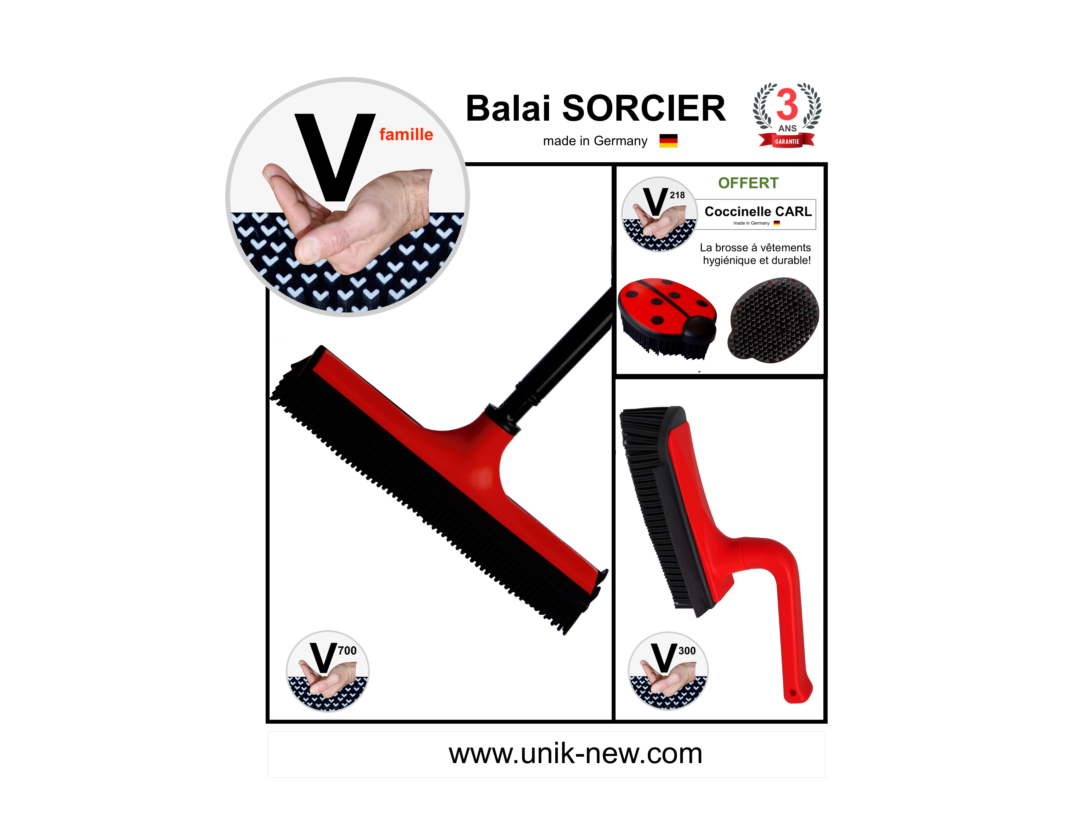 Kit Balai SORCIER V famille rouge. Balai V700 picots