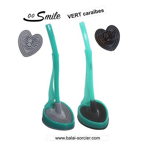 SMILE V600 picots vert caraïbes . Brosse toilettes Balai SORCIER.