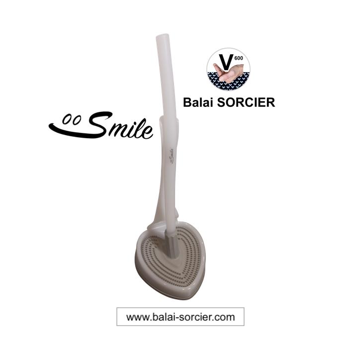 Brosse wc durable, recyclable, anti-goutte, antibactérienne, sans poils, à picots V. Balai SORCIER.