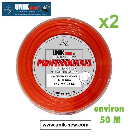 UNIK NEW fil de coupa carré 4,00mm Qualité Professionnelle Tête UNIK new.
