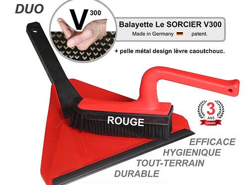 DUO Balayette V300 + pelle design Balai SORCIER picot V. Rouge