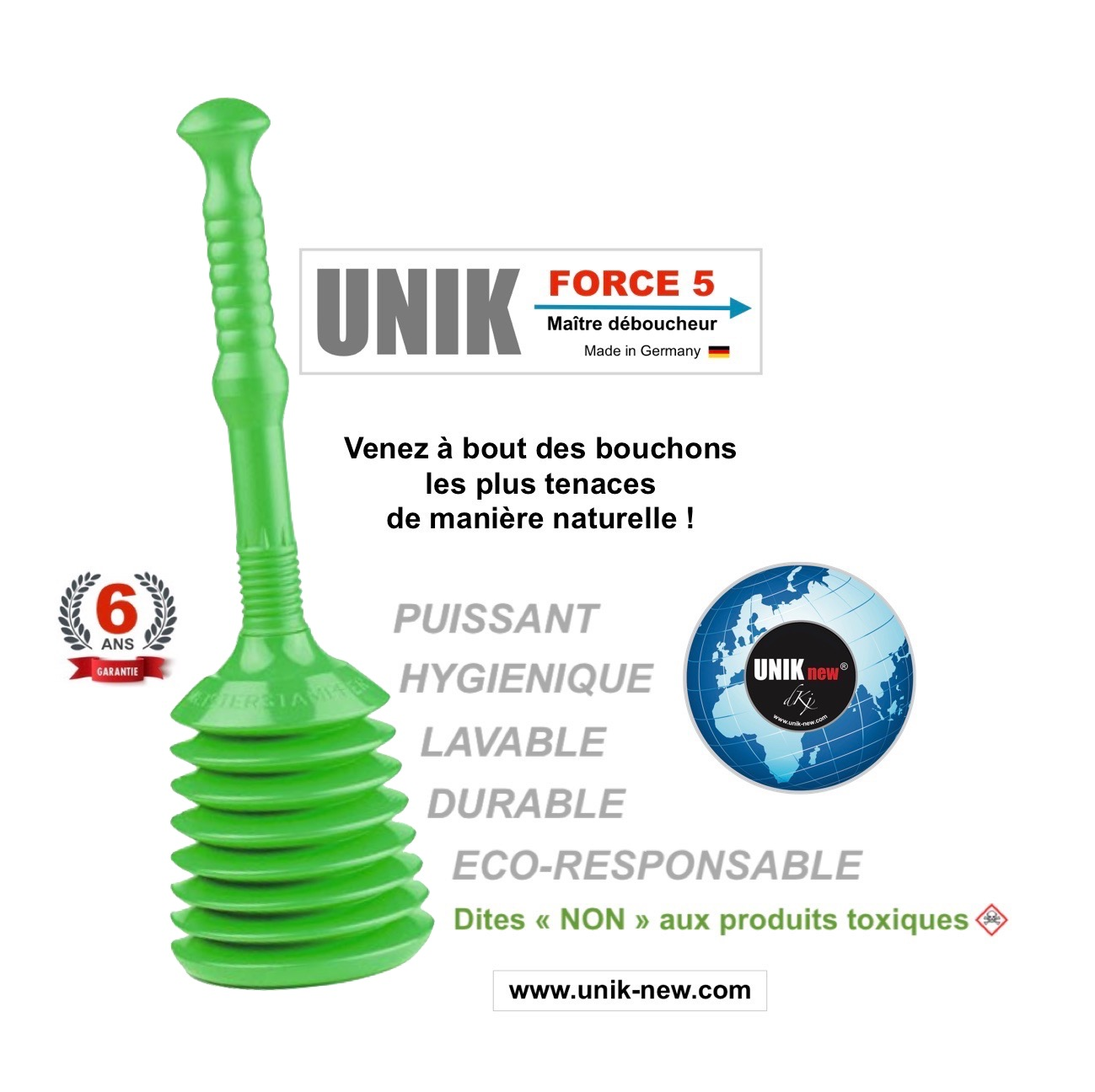 acheter déboucheur UNIK FORCE 5 vert
